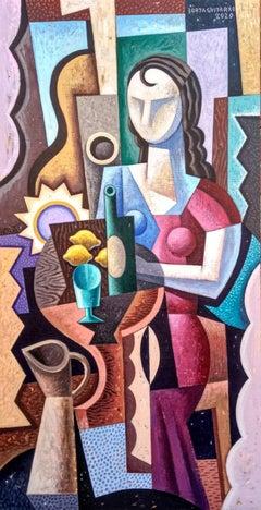 Mujer con Jarra - original figurative cubism painting contemporary modern art