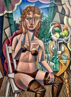 Mujer Cubista - original contemporary abstract cubism painting