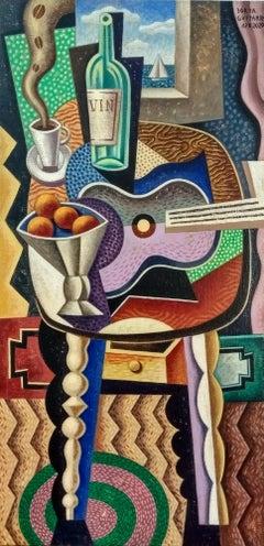Purple Guitar - original cubism still life painting 21st century Contemporary