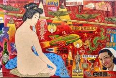Rocket Racer - mixed media nude painting contemporary art 21st Century