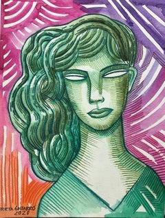 Sanitaria - original portrait tribute painting modern contemporary cubism