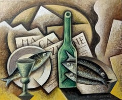 Sardines  & Newspaper original cubism painting