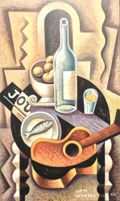 Still Life with guitar II original cubism painting