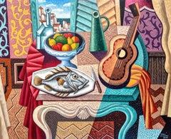Tavolo - original cubism portraiture painting figurative modern Contemporary Art