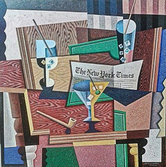 The New York Times-abstract cubism still life painting original contemporary art