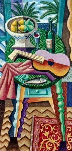 Tio Pepe -pipe original cubism portraiture painting female figurative modern