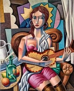 Tocando La Guitarra - original contemporary abstract cubism painting