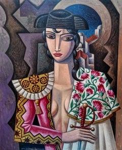 Torera - original cubism portraiture painting female figurative contemporary