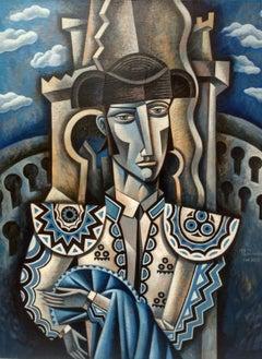 Torero en Azur - original figurative cubism painting Contemporary  21st Century