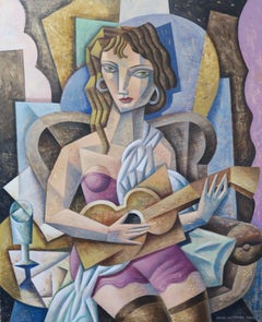 Woman with Guitar  original cubism painting Contemporary Art 21st Century