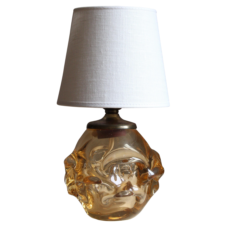 Börne Augustsson, Table Lamp, Blown Glass, Brass, Linen, Åseda, Sweden, 1950s