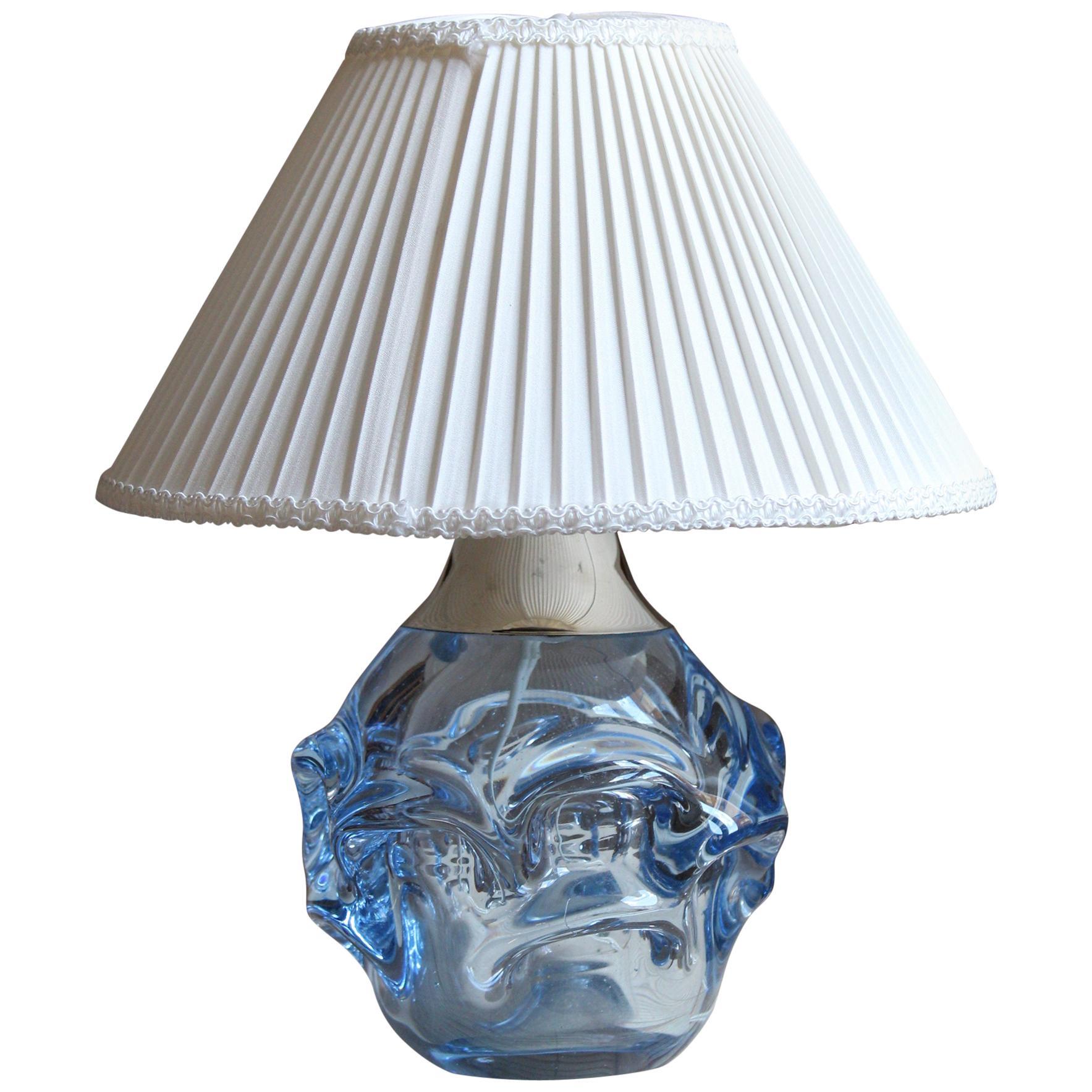 Börne Augustsson, Table Lamp, Blown Glass, Steel, Linen, Åseda, Sweden, 1950s