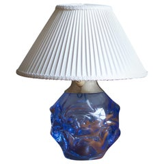 Börne Augustsson, Table Lamp, Blown Glass, Steel, Linen, Kosta, Sweden, 1940s