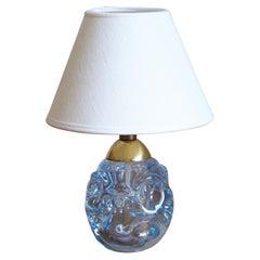 Börne Augustsson, Very Small Table Lamp, Blown Glass, Brass, Åseda Sweden, 1950s