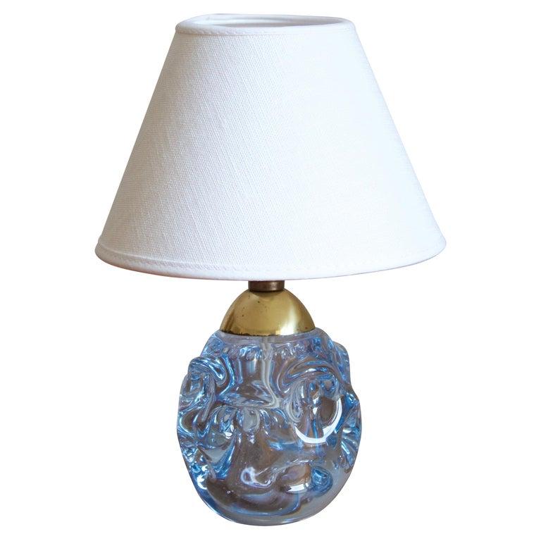 Börne Augustsson, Very Small Table Lamp, Blown Glass, Brass, Åseda Sweden, 1950s For Sale
