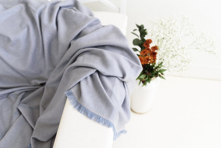 Hand-Woven Boro Blue Shade Queen Size Bedspread / Coverlet Handwoven in Soft Merino For Sale