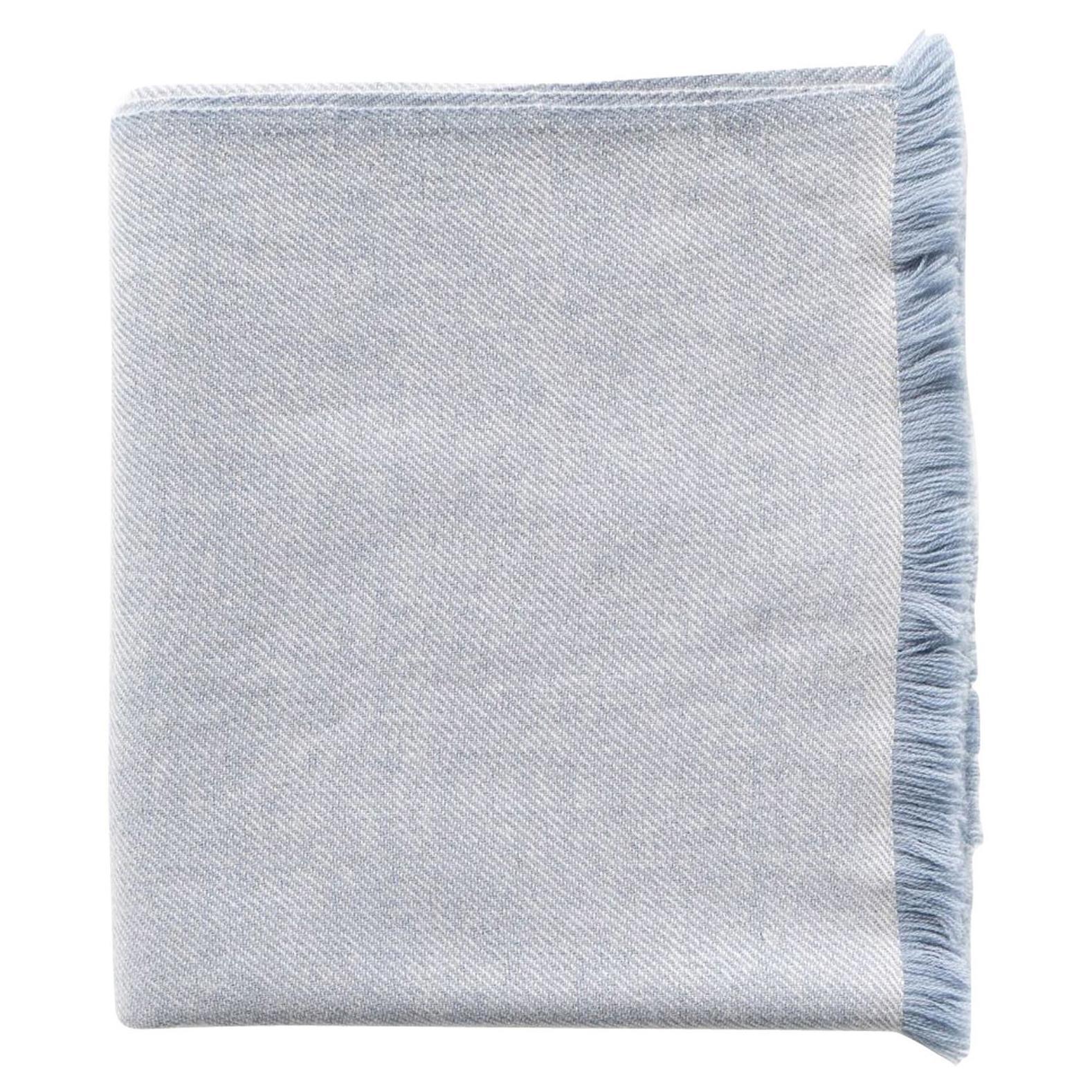 Boro Blue Shade Queen Size Bedspread / Coverlet Handwoven in Soft Merino