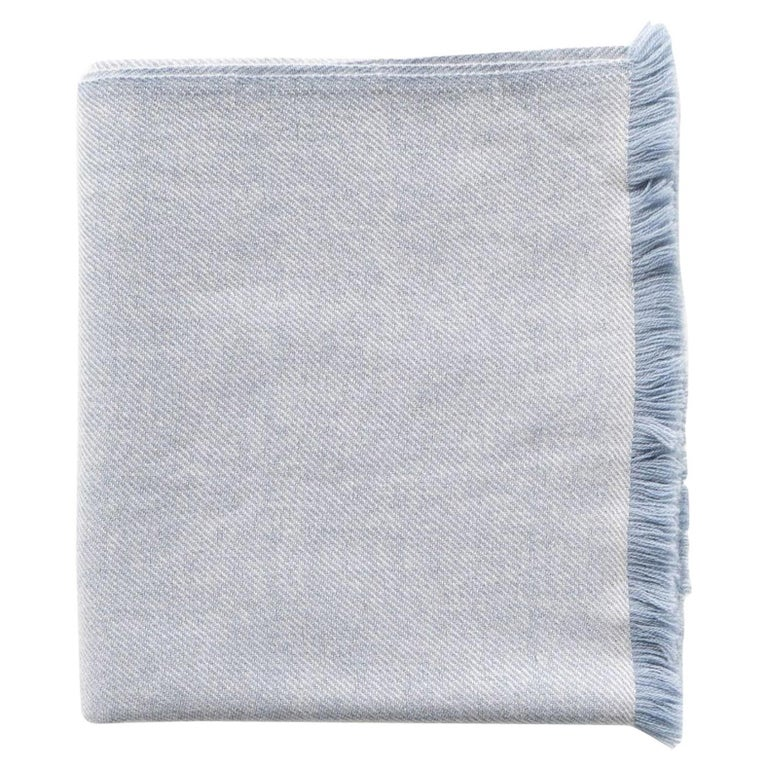 Boro Blue Shade Queen Size Bedspread / Coverlet Handwoven in Soft Merino For Sale
