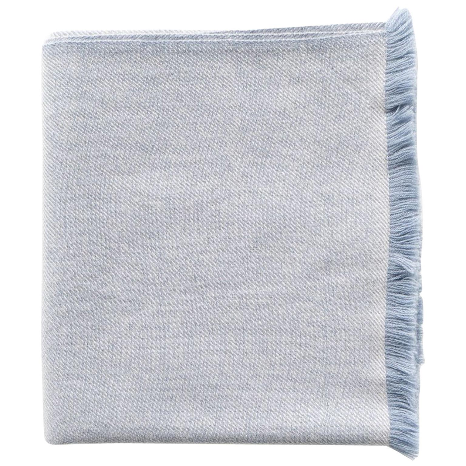 Boro Blue Shade King Size Bedspread / Coverlet Handwoven in Soft Merino
