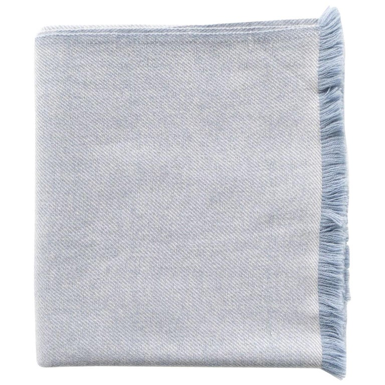 Boro Blue Shade King Size Bedspread / Coverlet Handwoven in Soft Merino For Sale
