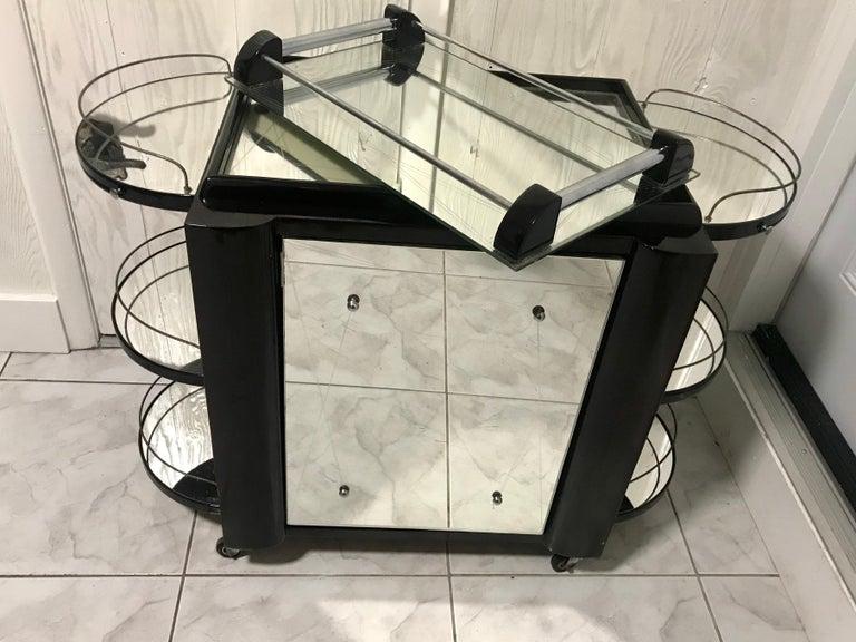 20th Century Borraz Dry Bar on Wheels, Ebonized Walnut, France For Sale