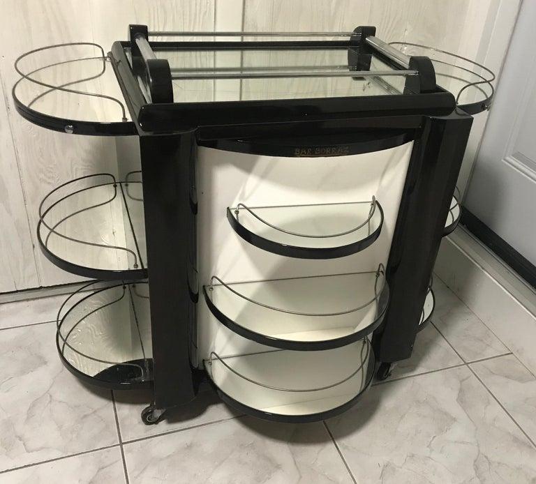 Borraz Dry Bar on Wheels, Ebonized Walnut, France For Sale 3