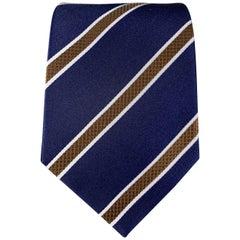 BORRELLI Print Navy Silk Tie