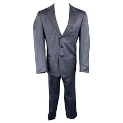 BORRELLI Size 40 Navy Stripe Wool Notch Lapel Suit