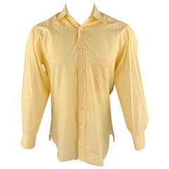 BORRELLI Size M Yellow Pinstripe Cotton Button Up Long Sleeve Shirt