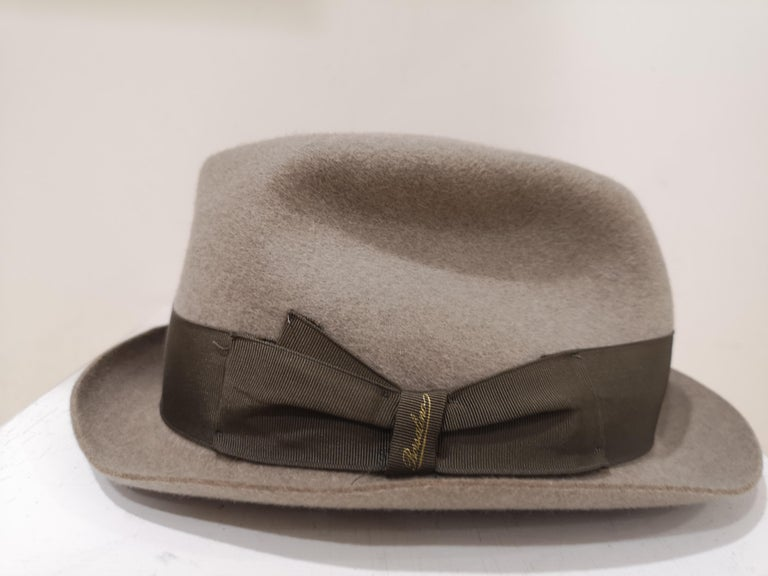Borsalino Grey Wool Hat totally made in italy size 56