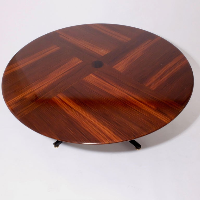 Polished Borsani Adjustable Height Rosewood Table by Tecno T41, Dining or Coffee Table For Sale