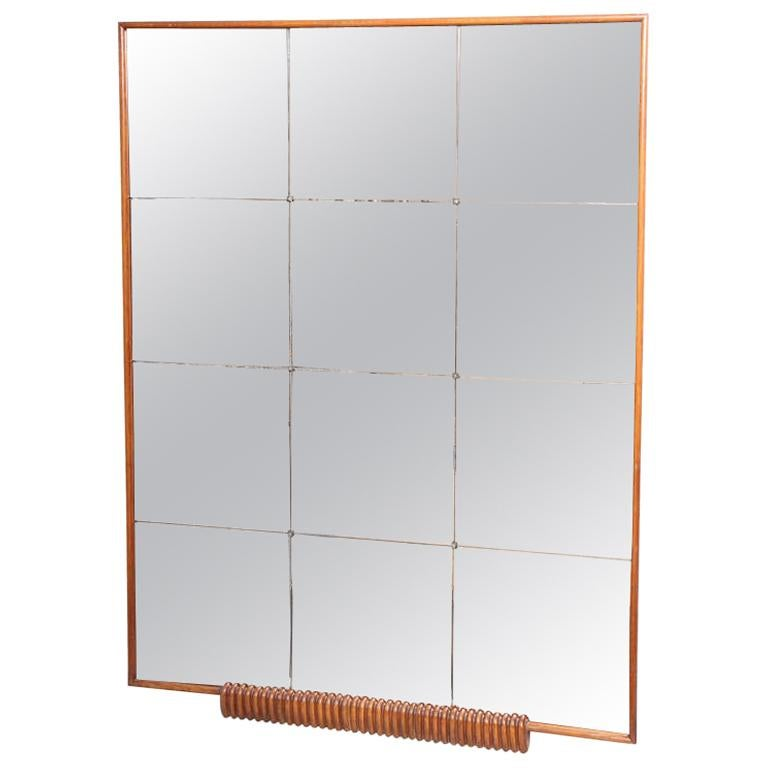 Borsani Attributed Grand Italian Wall Mirror with Attached Sconce For Sale