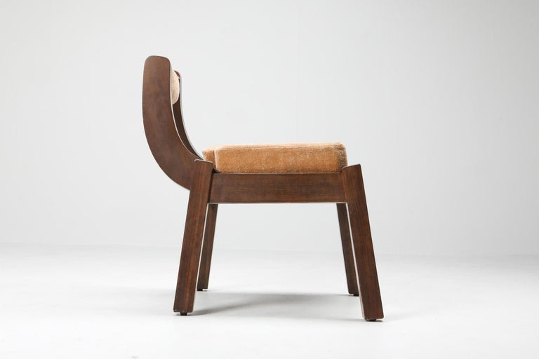 Osvaldo Borsani style dining chairs from 1950, Italy; Italian design; Art Deco; Brutalism; Scarpa  influenced by the more expressive and curvaceous wing of Art Deco and Brutalist design. Currently upholstered in salmon velvet, with frames of