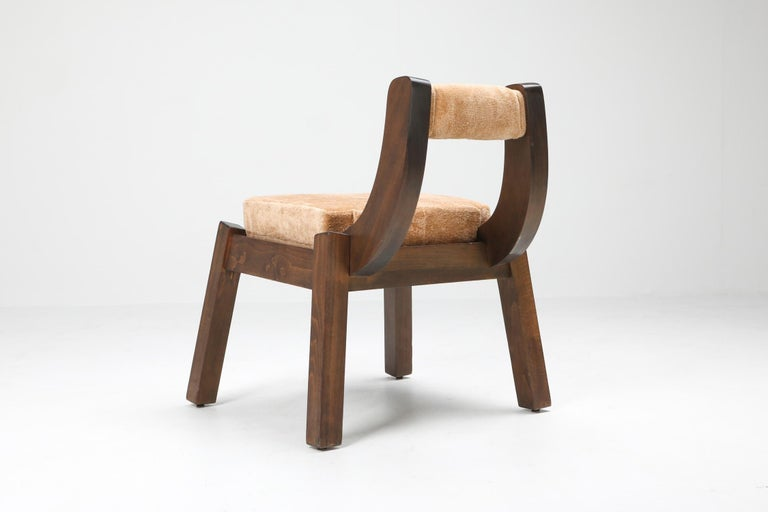 Borsani Italian Walnut Dining Chair, Art deco, Brutalism 1950's In Good Condition For Sale In Antwerp, BE
