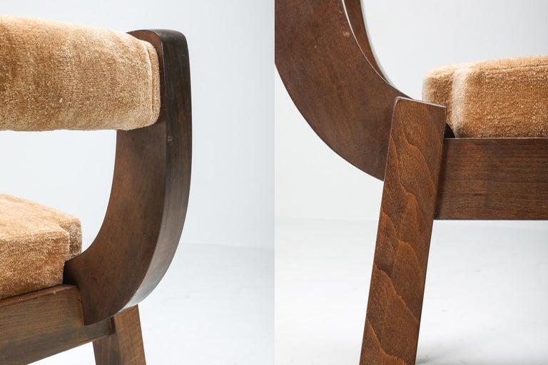 Mid-20th Century Borsani Italian Walnut Dining Chair, Art deco, Brutalism 1950's For Sale
