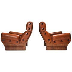 Borsani P110 'Canada' Lounge Chairs in Cognac Leather