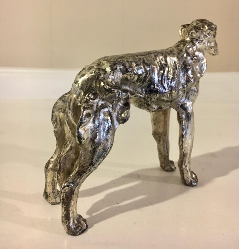 Mid-Century Modern Borzoi Afghan Dog Sculpture Paper Weight For Sale