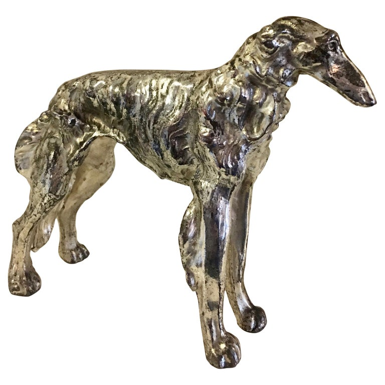 Borzoi Afghan Dog Sculpture Paper Weight For Sale
