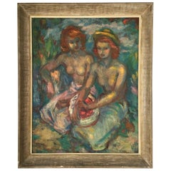 """Bosc """"Two Seated Women"""" Signed Painting Oil on Canvas"""