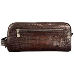 BOSCA Embossed Alligator Brown Leather Toiletry Bag