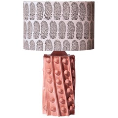 Bosphore Lamp with a Glazed Ceramic and Fabric Oval Lampshade by Laura Gonzalez