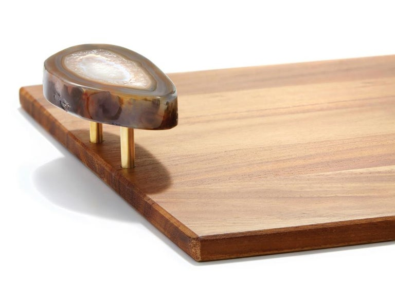 Other Bosque Tray in Bosque Wood and Druze Agate by Anna Rabinowitz For Sale