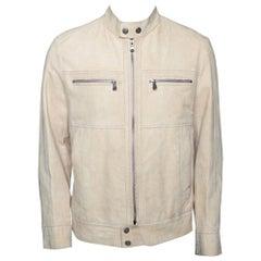 Boss By Hugo Boss Beige Suede Zip Front Calen Jacket XL
