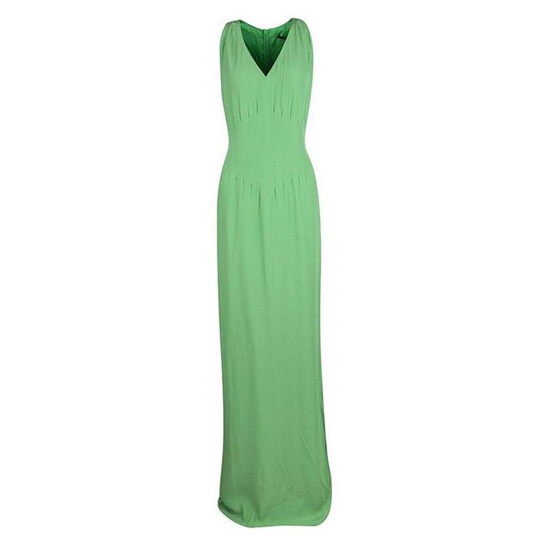 Boss By Hugo Boss Green Sleeveless V-Neck Dallisia Maxi Dress L In New Condition In Dubai, Al Qouz 2