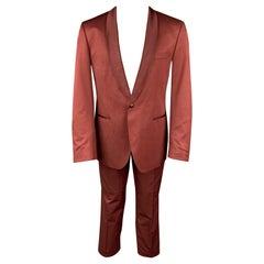 BOSS by HUGO BOSS Size 40 Regular Brick Cotton Blend Shawl Collar Suit
