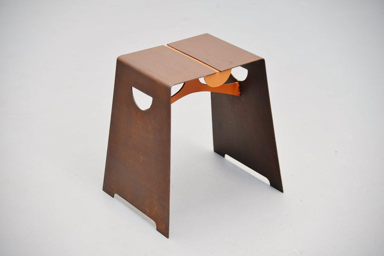 Very nicely shaped Bossche school designed stool, Holland, 1970. This stool was made or steel and is typically for de Bossche school. Very similar design to the pieces by Dom Hans van der Laan. This stool is completely made of sheet steel and is