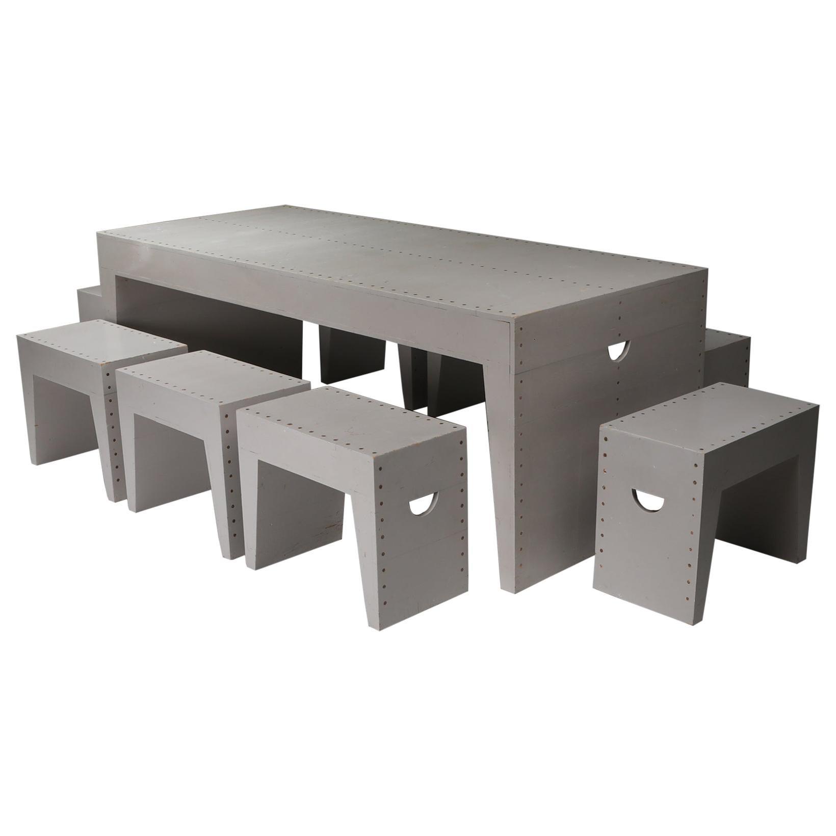 Bossche School Table and Stools, Dom Hans van der Laan, Jan De Jong