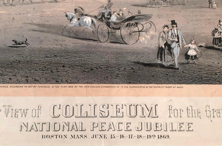American Boston Coliseum National Peace Jubilee Lithograph, circa 1869 For Sale