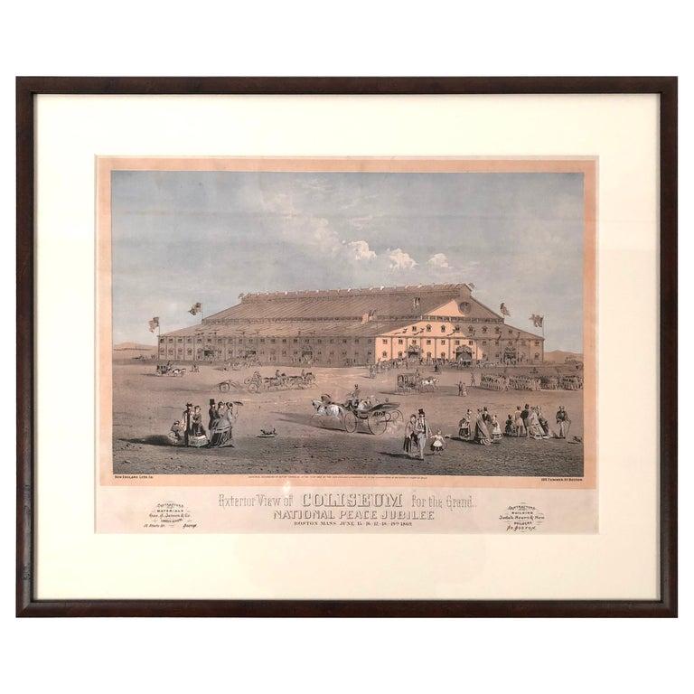 Boston Coliseum National Peace Jubilee Lithograph, circa 1869 For Sale