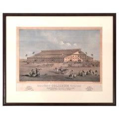 Boston Coliseum National Peace Jubilee Lithograph, circa 1869